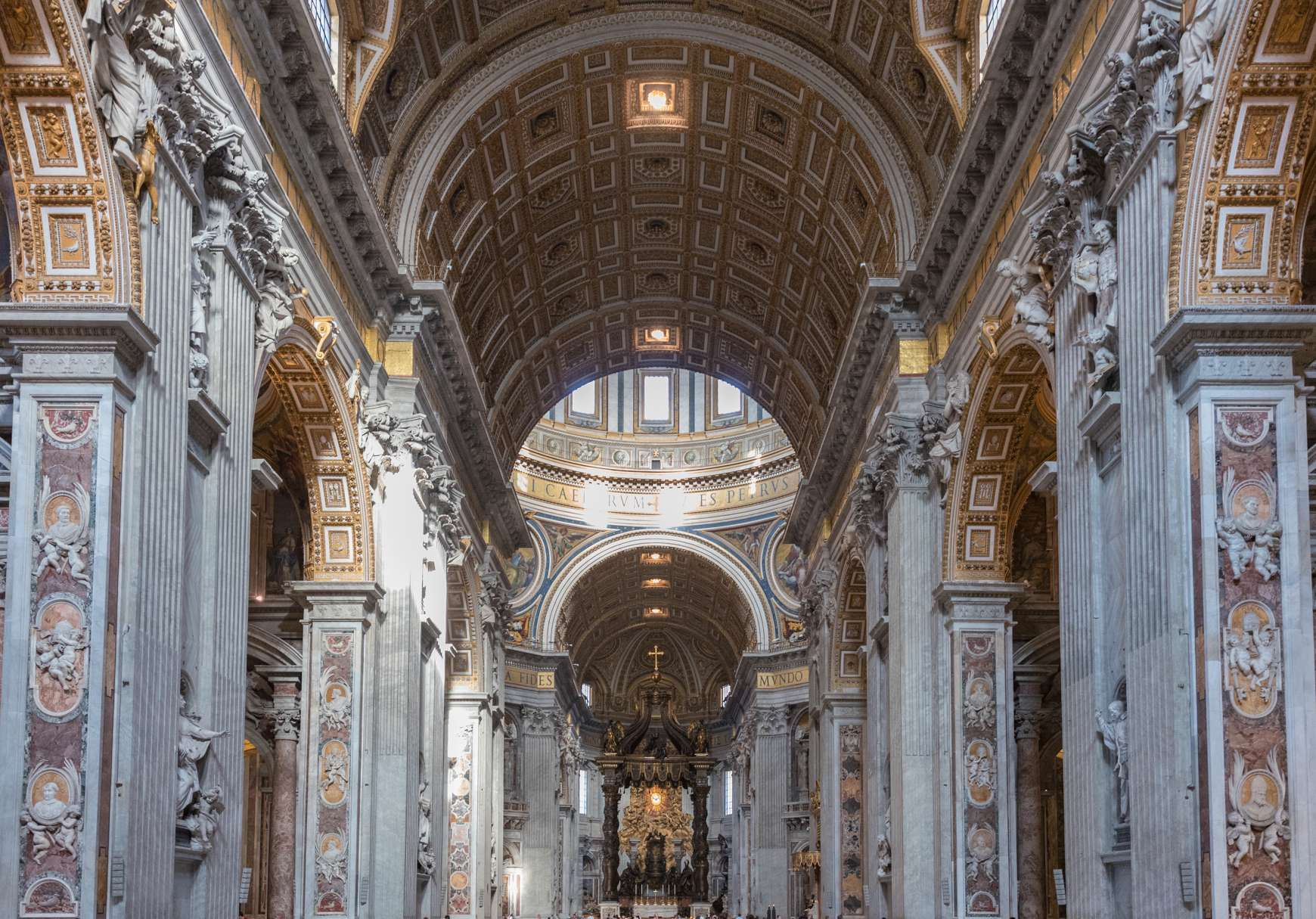 View of walls and vaulted archways of St. Peter's Basilica in Rome
