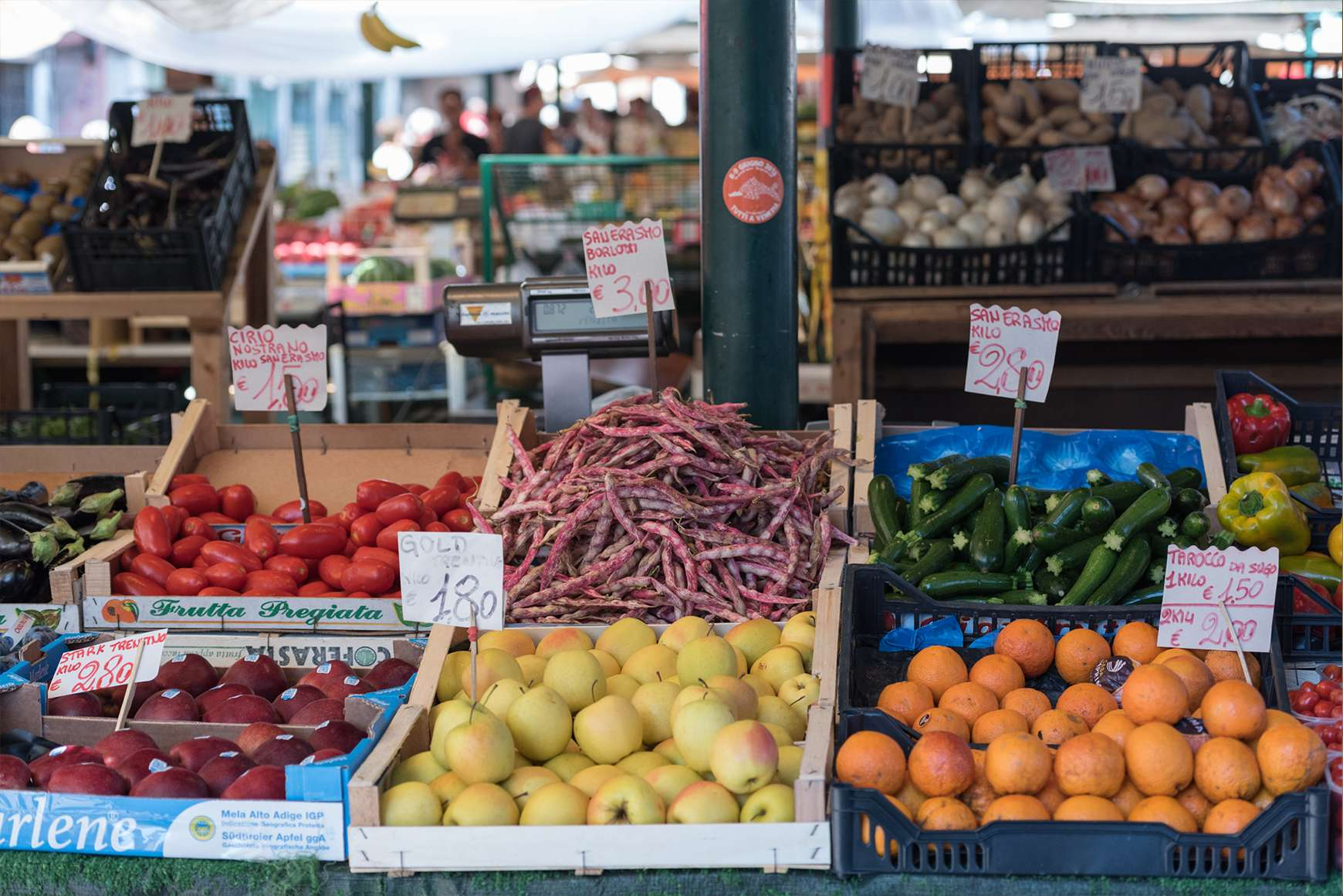 Fresh fruit and vegetables for sale at Florence's San Lorenzo Market