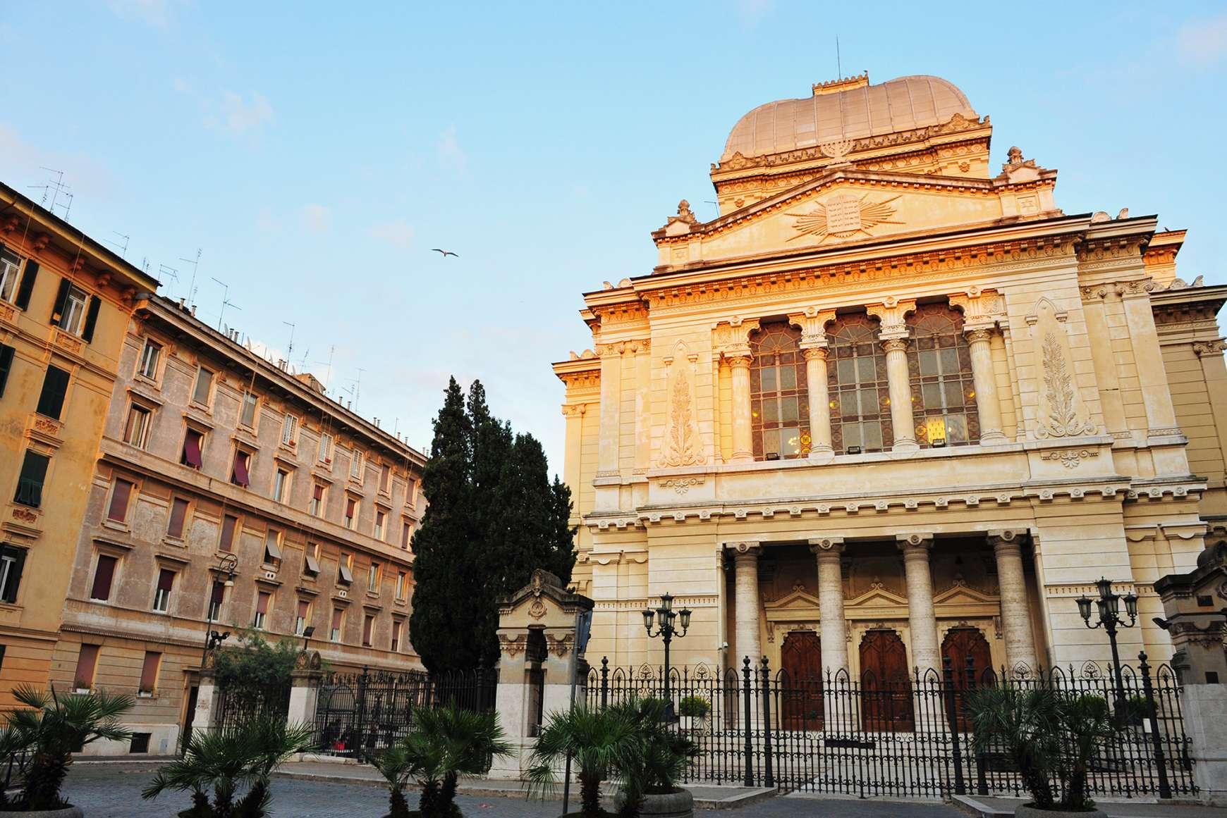 Facade of Tempio Maggiore, Jewish Synagogue in Rome
