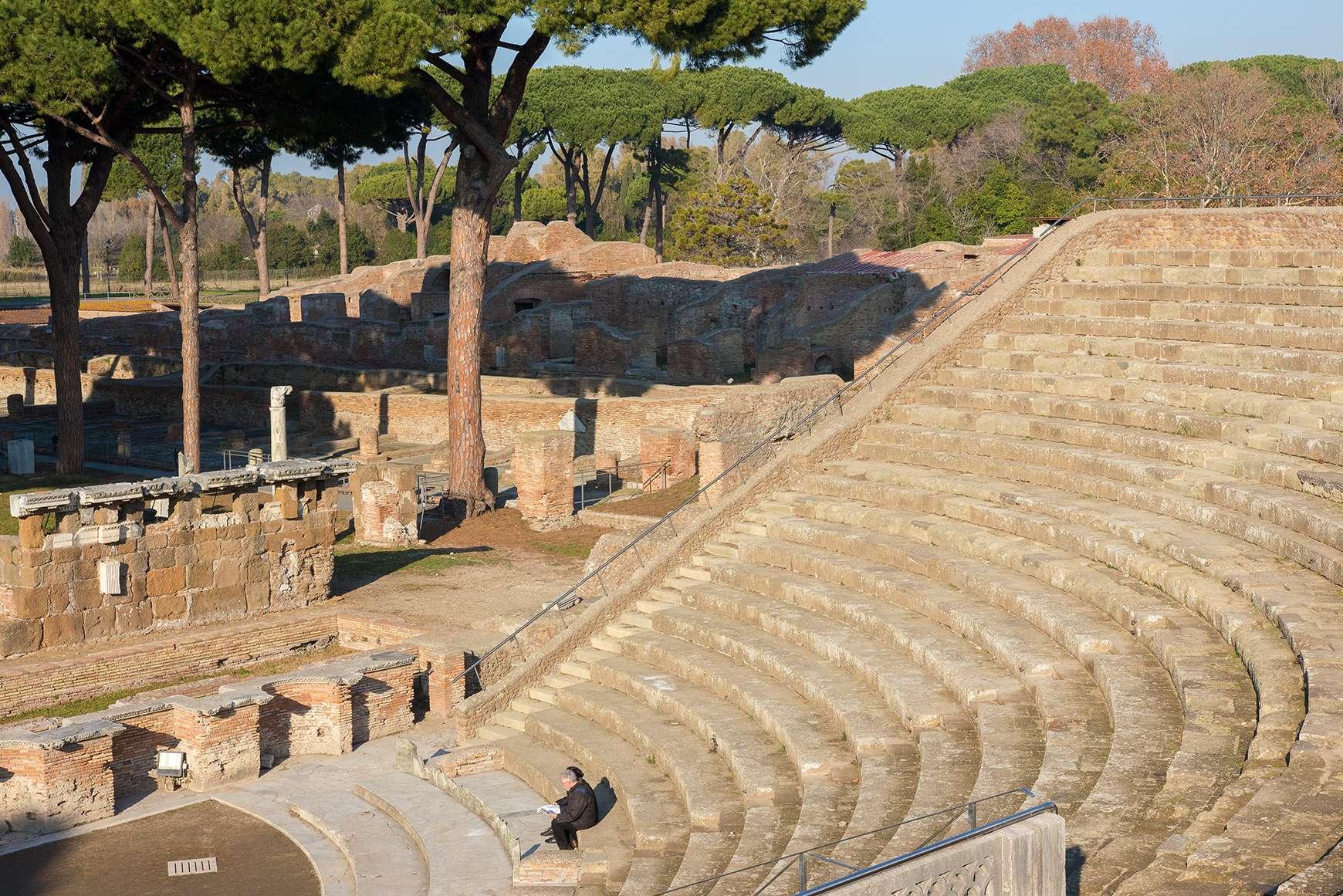 Rows of amphitheater seats at Agrippa's Theatre, Ostia near Rome