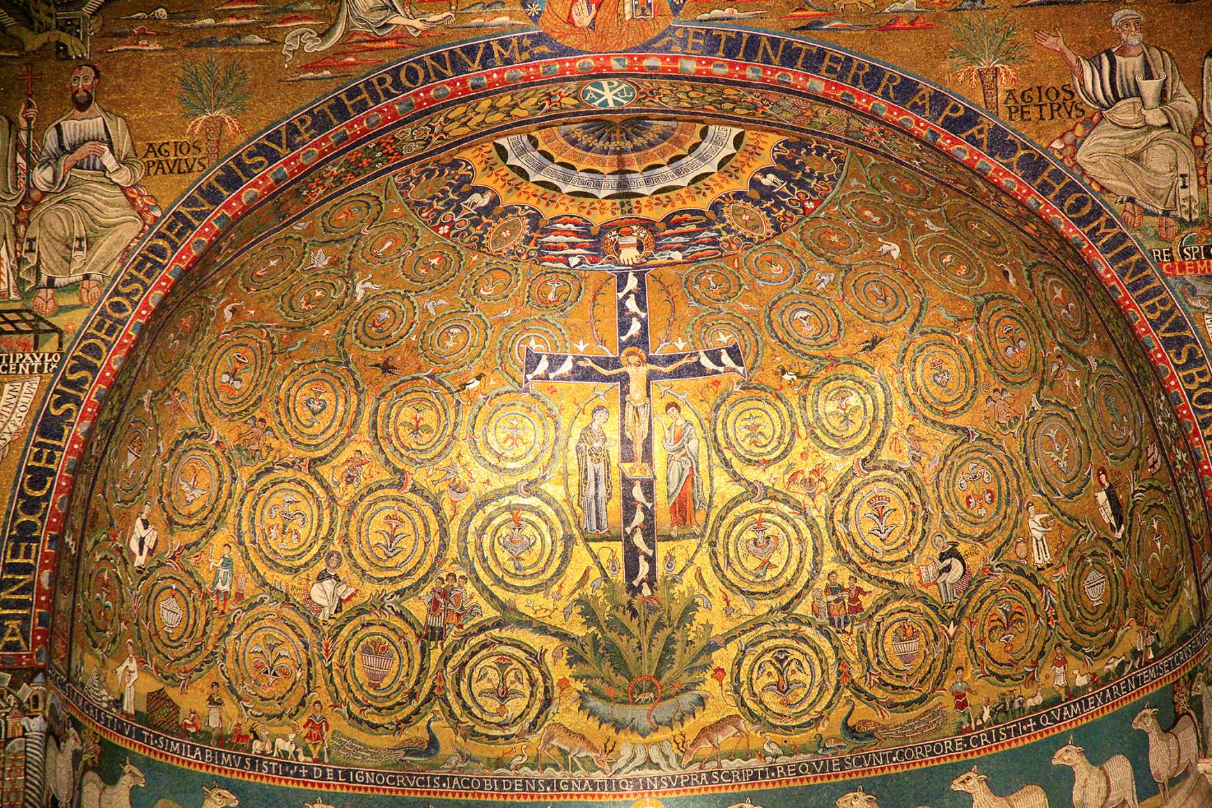 Looking up at mosaic tiles in the apse of Basilica San Clemente in Rome