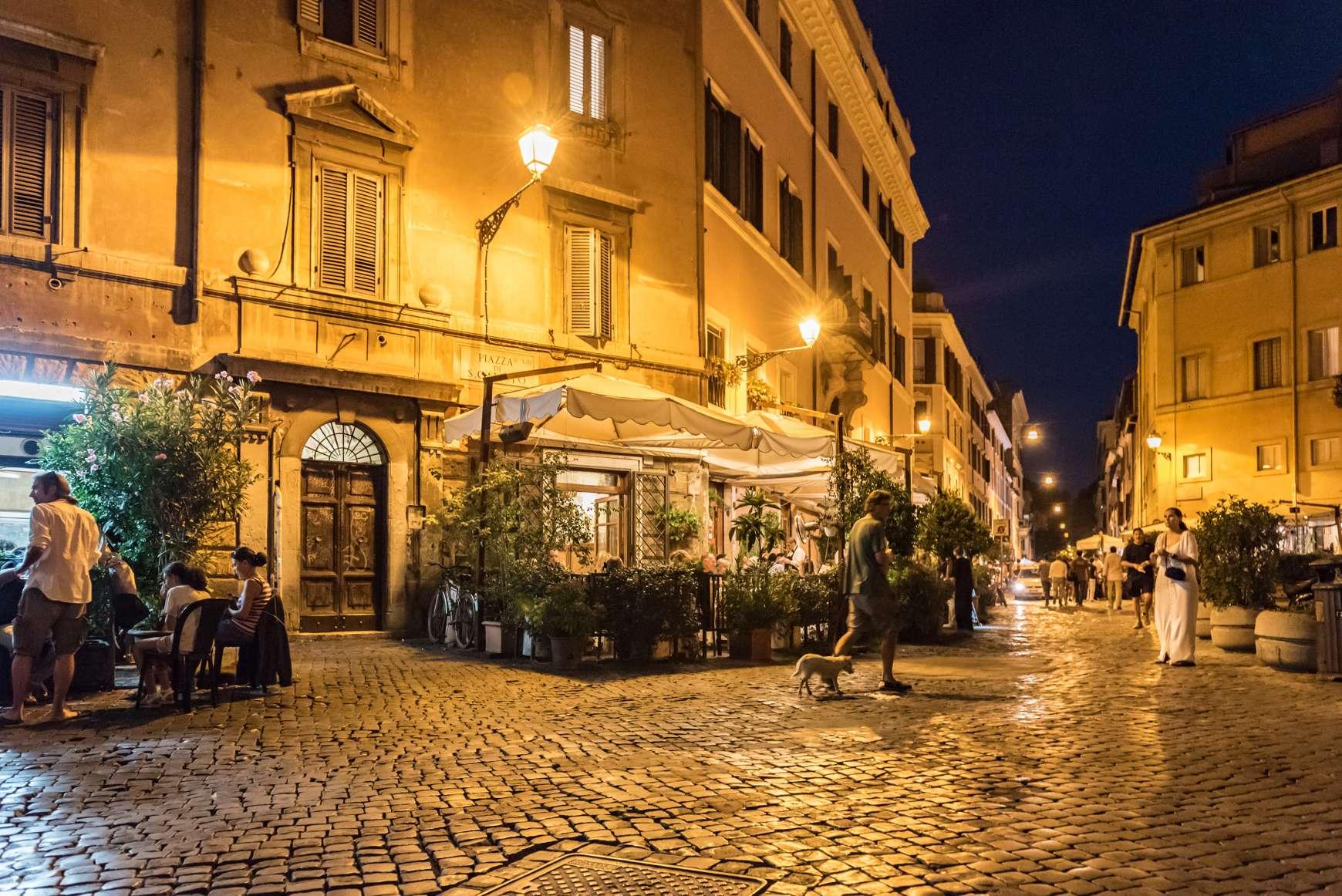 Night view of narrow Roman street