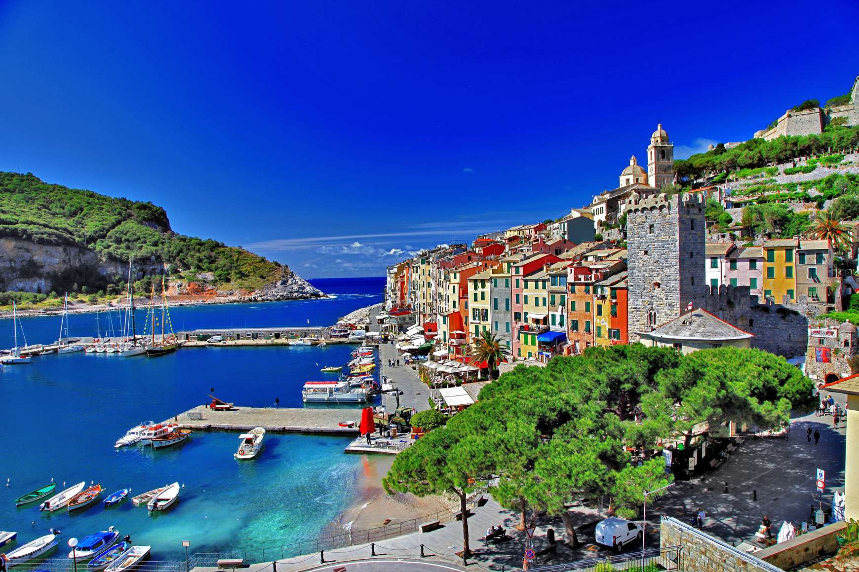 View of Cinque Terre with the backdrop of the Ligurian Sea