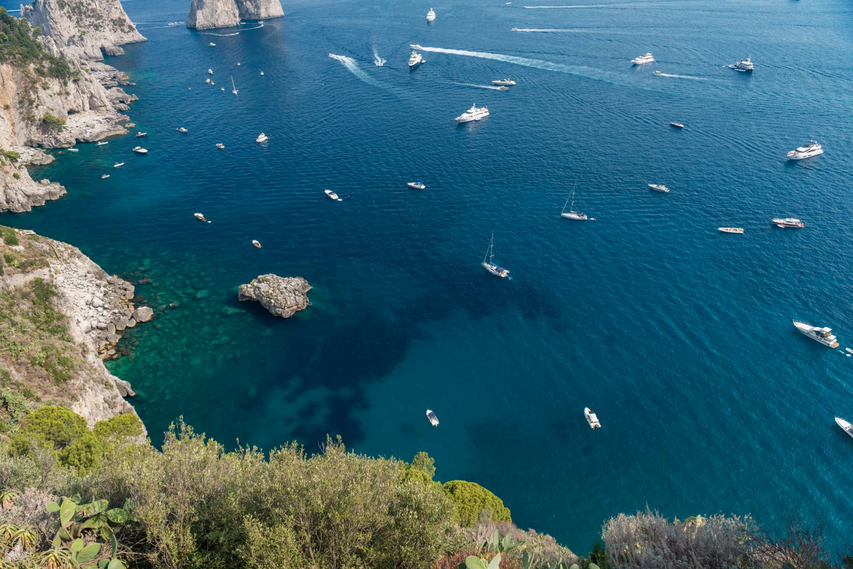 Overview of the bright blue sea from the Amalfi Coast