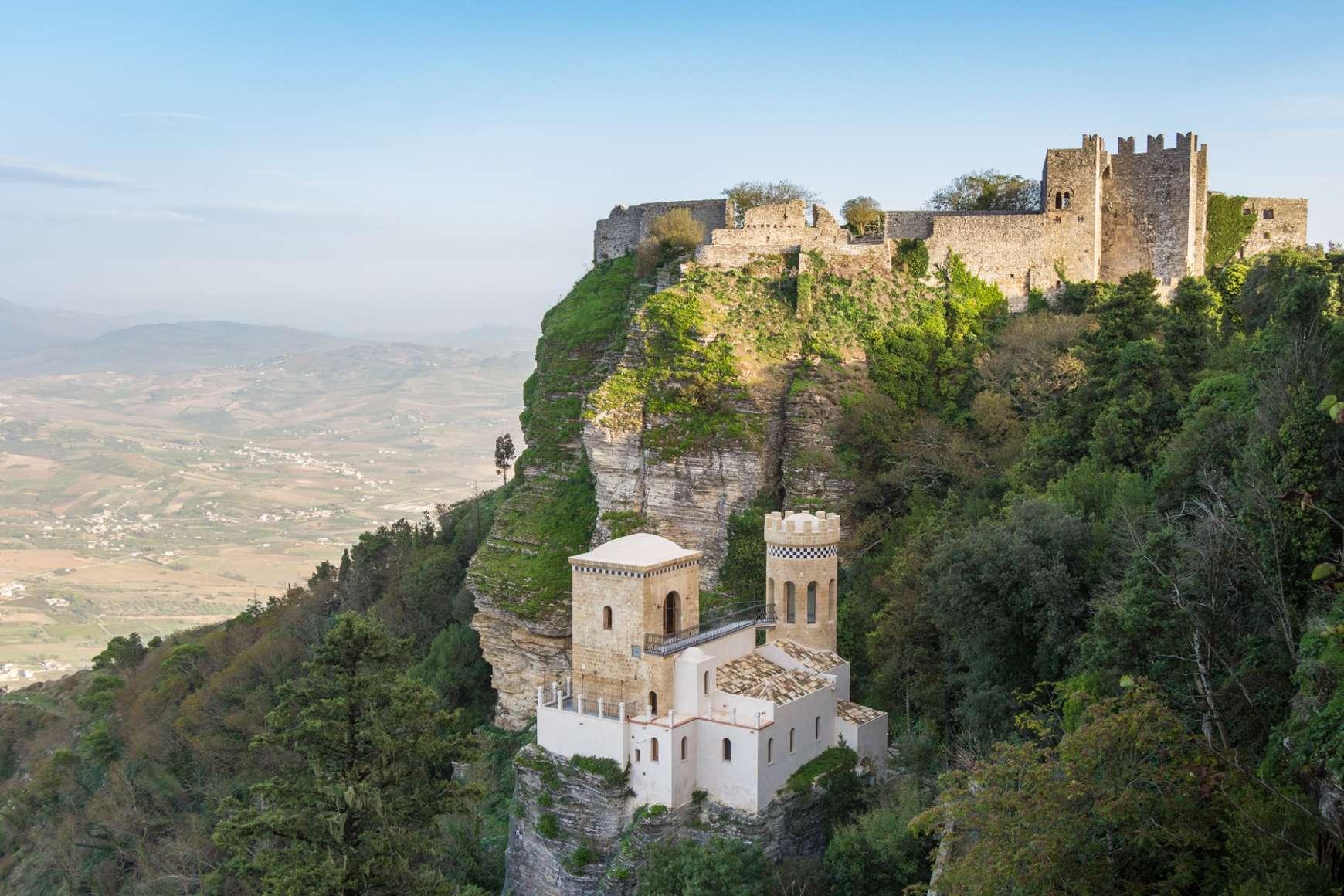 Overlooking Pepoli Castle near Trapani Italy