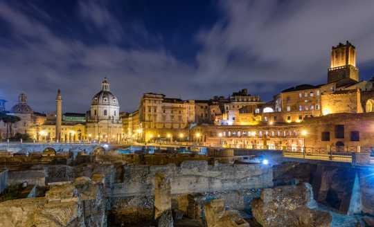 Beautifully lit view of the ancient Roman Forum