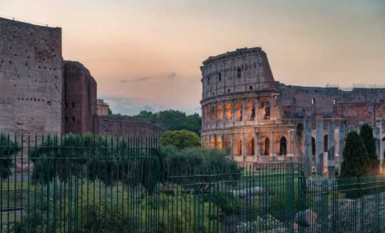 Long view of the Colosseum in Rome, Italy
