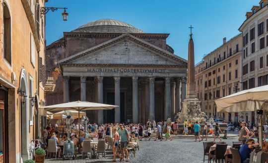 Piazza della Rotonda in Rome with the Pantheon in the background