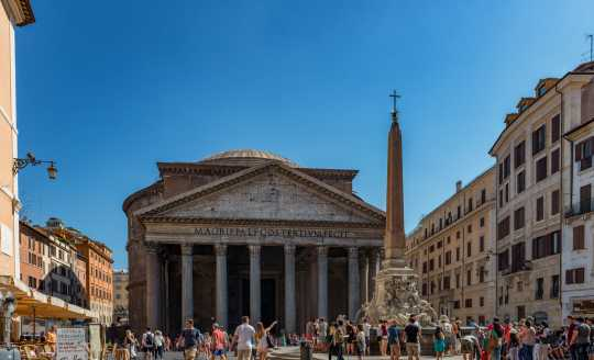 Piazza view of front facade of the Pantheon in Rome