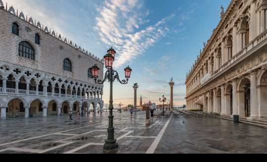 Piazza San Marco street lamps at sunrise in Venice, Italy