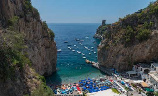 Looking down at the blue water of the Amalfi Coast