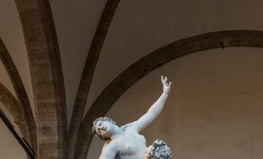 Sculpture of intertwined figures in Piazza della Signoria in Florence, Italy