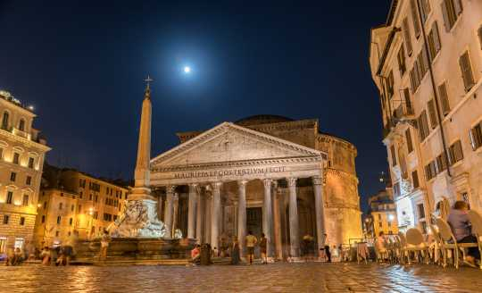 View of Pantheon basilica in center of Rome, Italy
