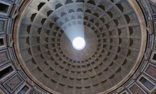 Looking up into the dome of the Pantheon in Rome