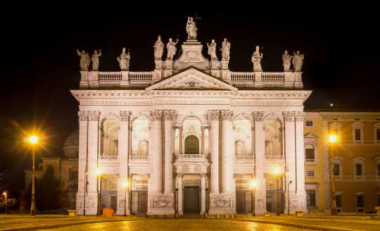 Evening view of facade of The Basilica of St. John Lateran