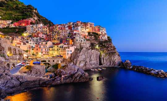 Village of Manarola on the Cinque Terre Coast at sunset