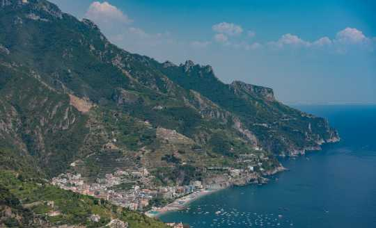 Panoramic view of the sea and Amalfi Coast from above