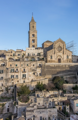 View of Cathedral Santa Maria della Bruna rising majestically over Matera's highest point