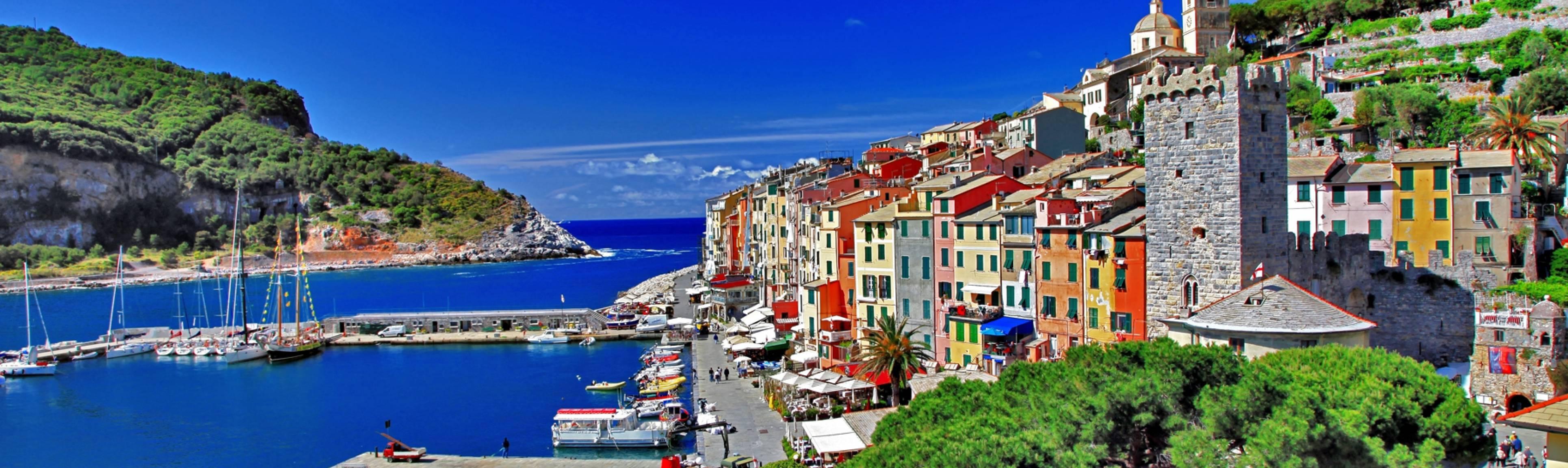 Port of Portovenere alongside the blue waters of the Liigurian coast