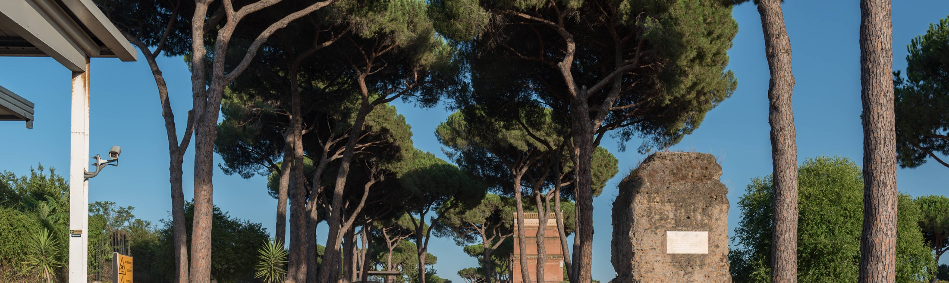 Tree lined view of the Appian Way near the Catacombs in Rome
