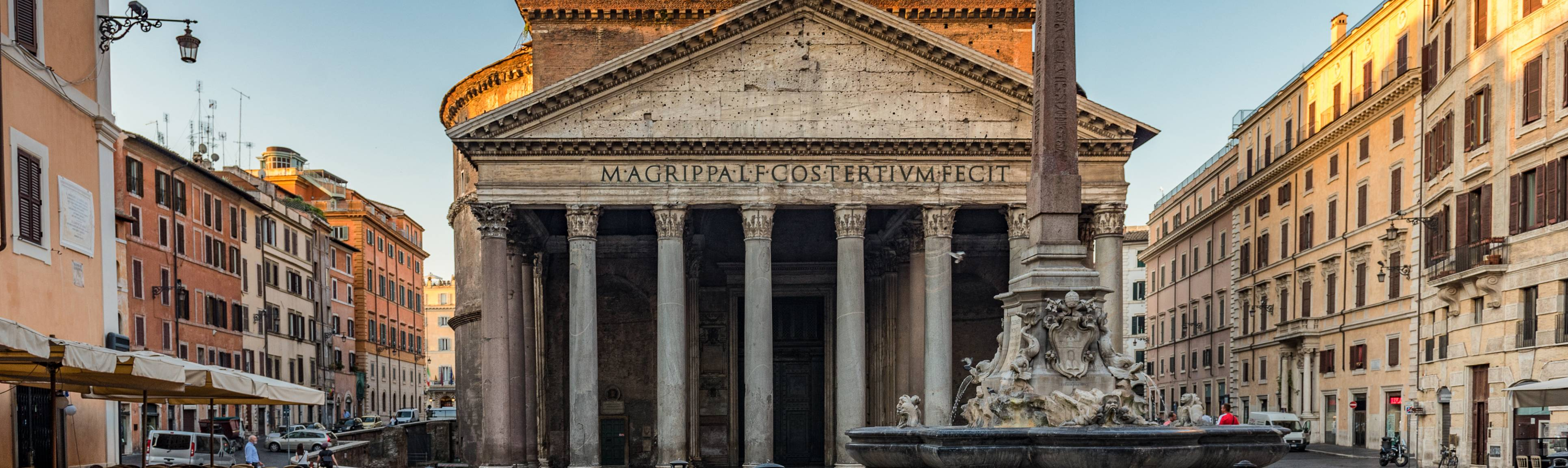 View of front facade of Pantheon in Rome, Italy