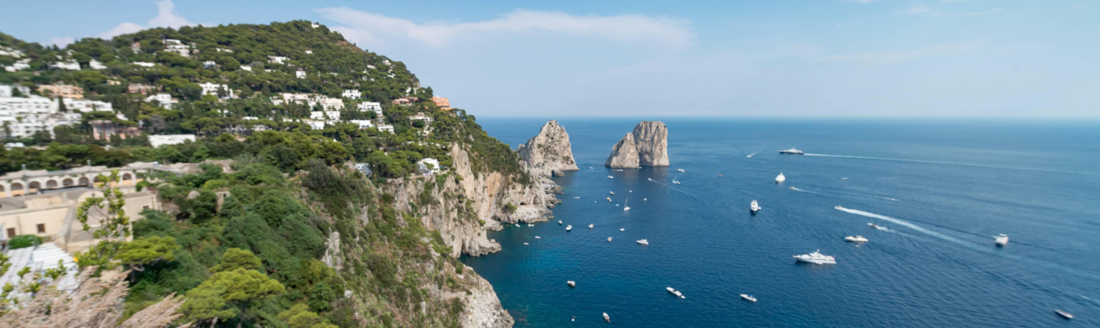 Looking down at the Tyrrhenian Sea along the Amalfi Coast, Italy
