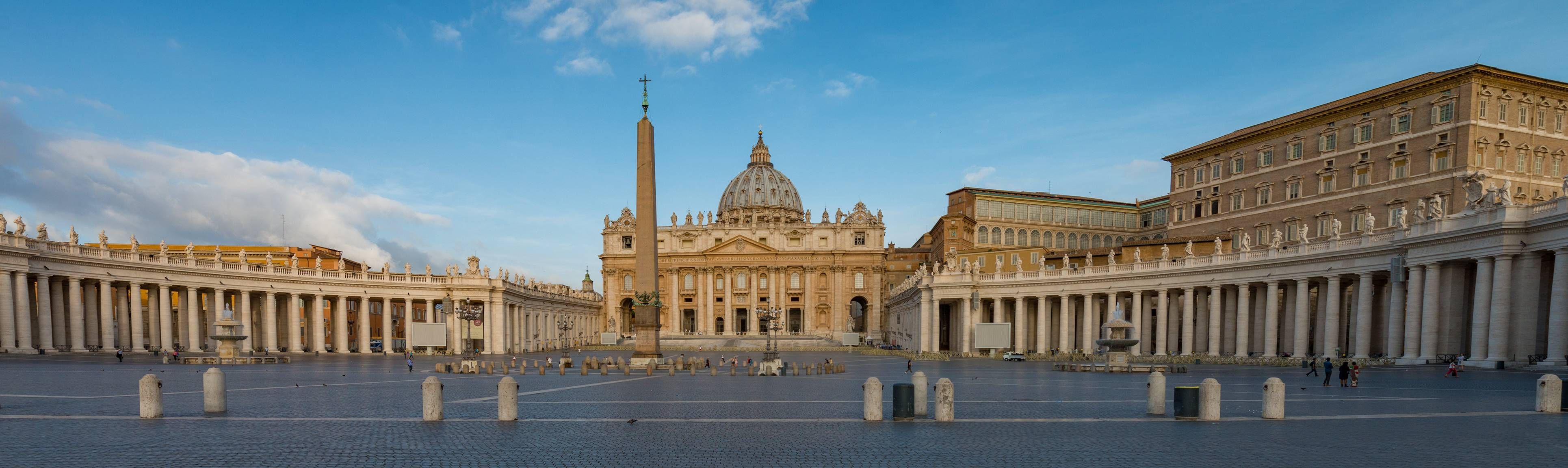View of St. Peter's Square with St. Peter's Basilica in the background