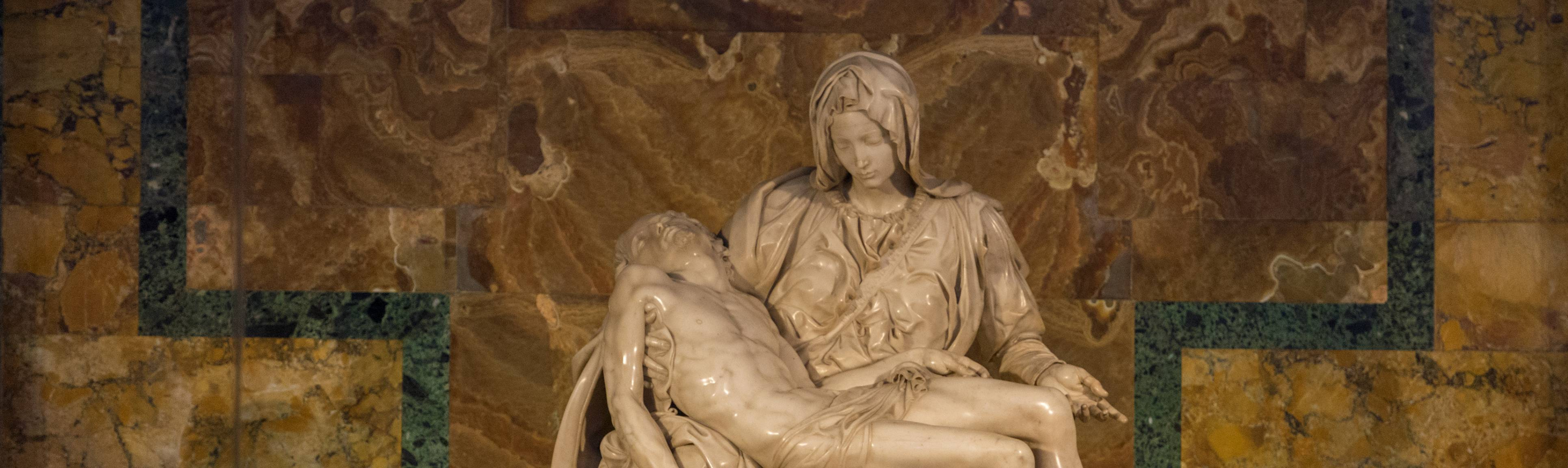 Michelangelo's Pieta showing Mary holding Jesus at St. Peter's Basilica