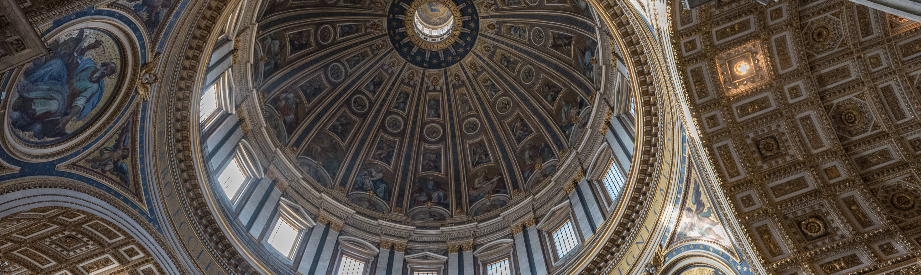 Looking up at the interior apex of St. Peter's Basilica Dome in Rome