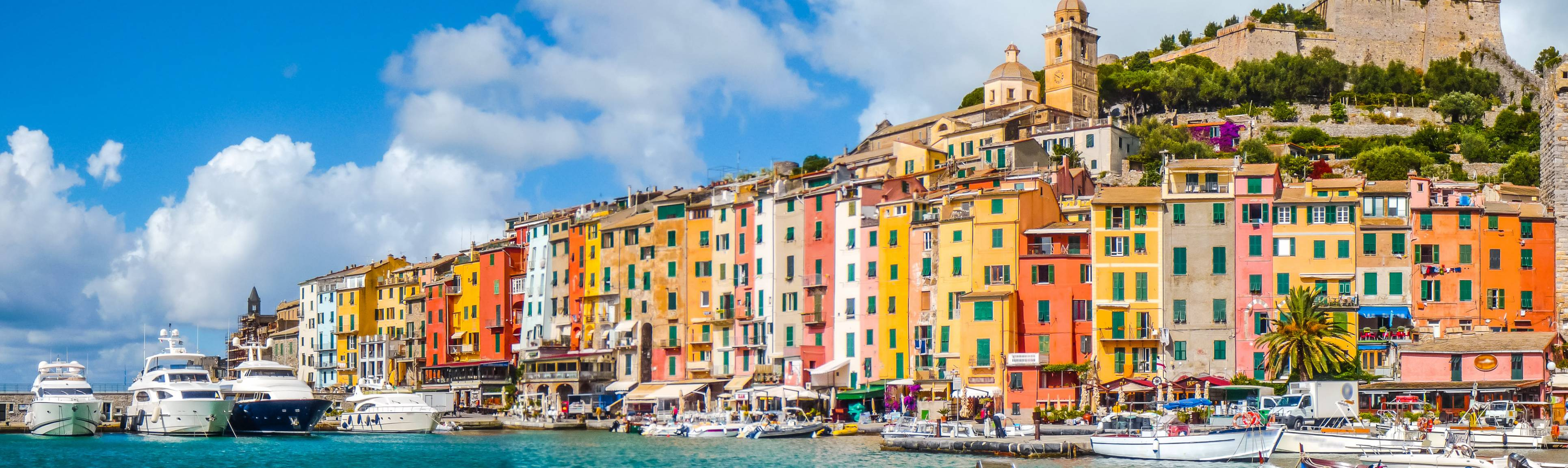 Brightly colored buildings along the marina at Portovenere Italy