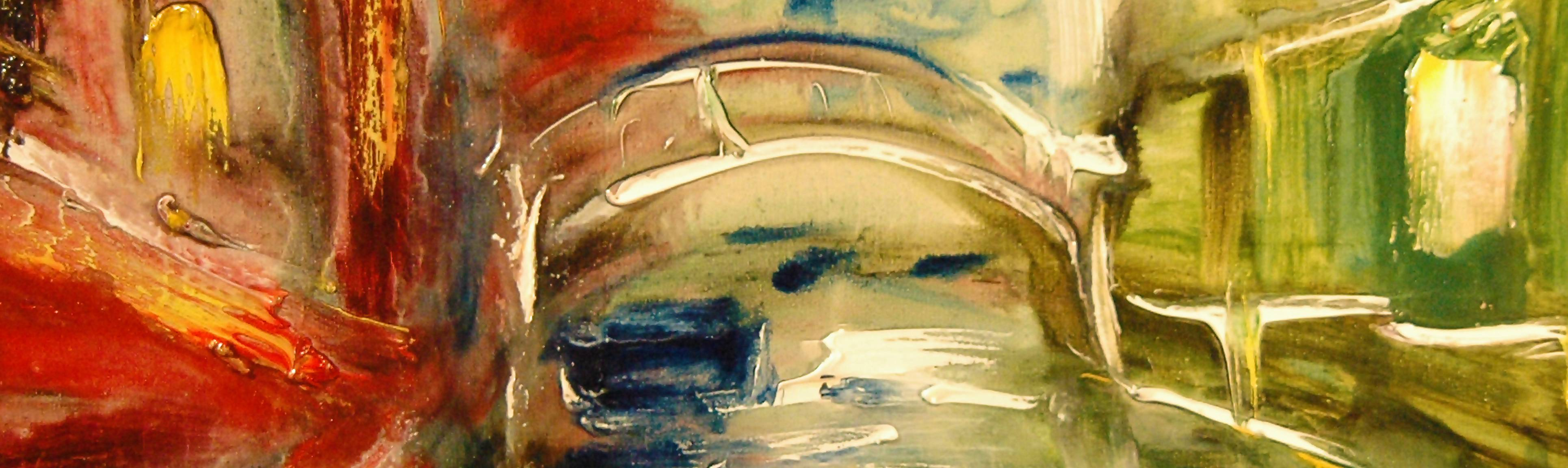 Detail of abstract painting in Venice Contemporary Art Tour