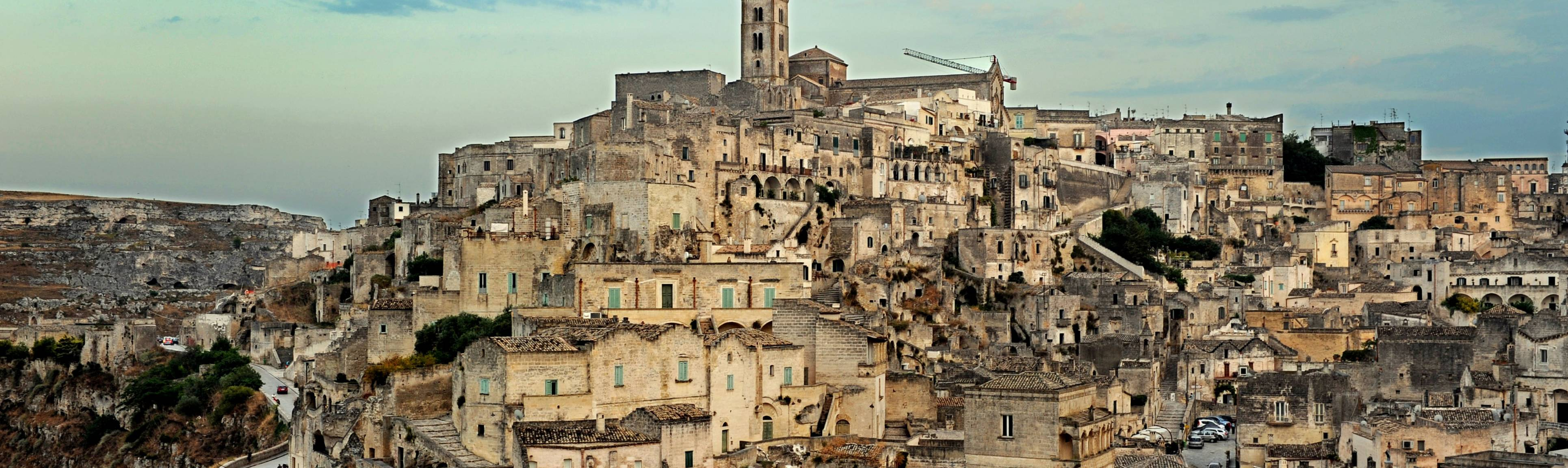 Approaching Matera, view of rocky outcrop in Southern Italy