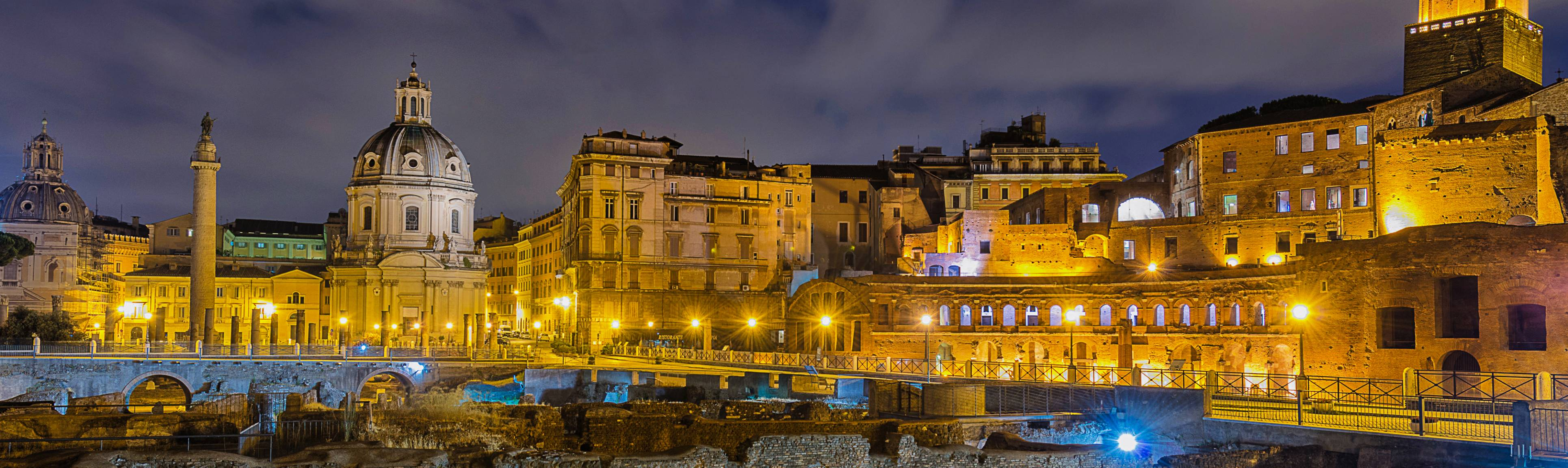 Illuminated view of the ancient Roman Forum