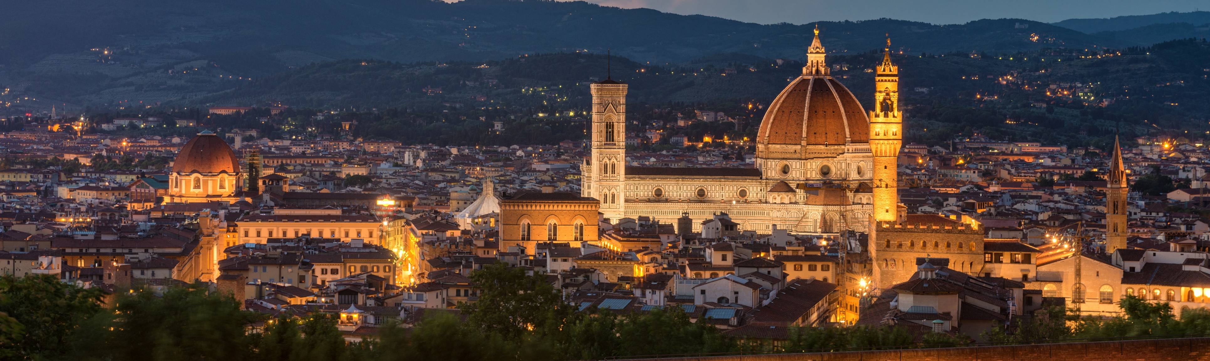 Beautifully lit view of evening in Florence, Italy