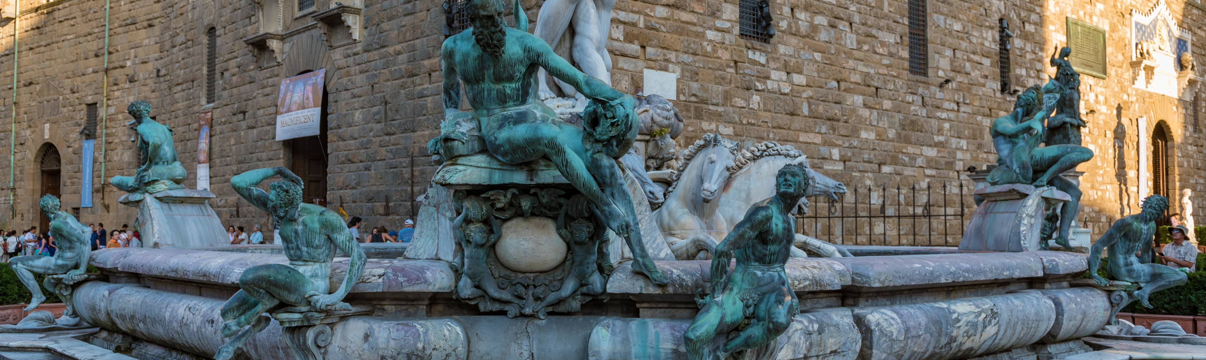 Statues decorating the front of Neptune's Fountain in Florence, Italy