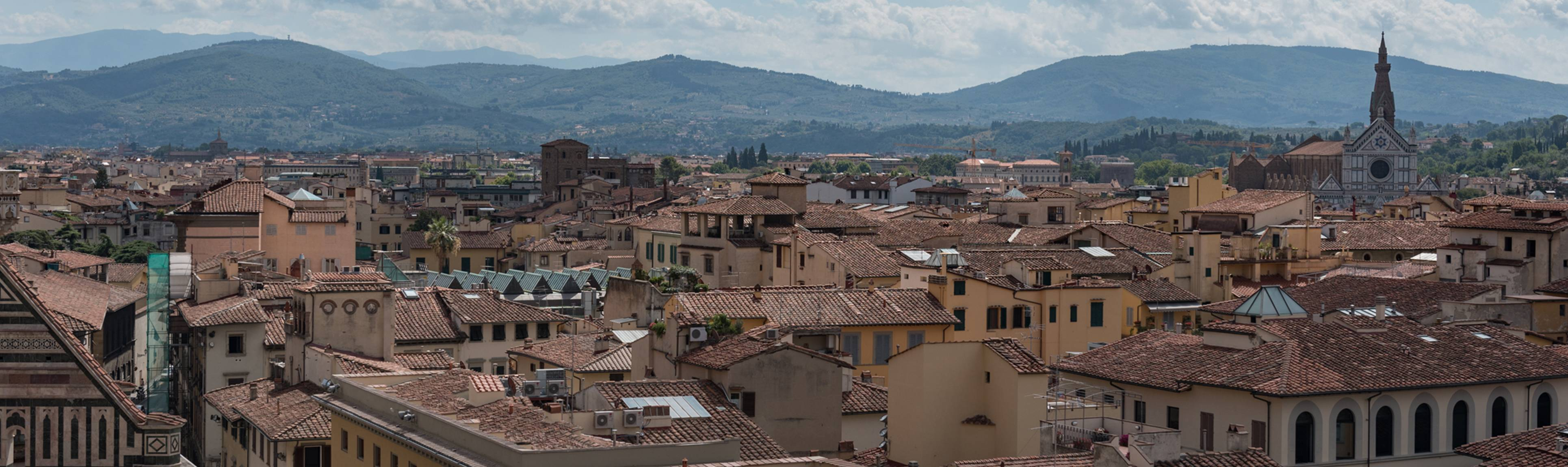 Looking over the tiled rooftops of Florence, Italy