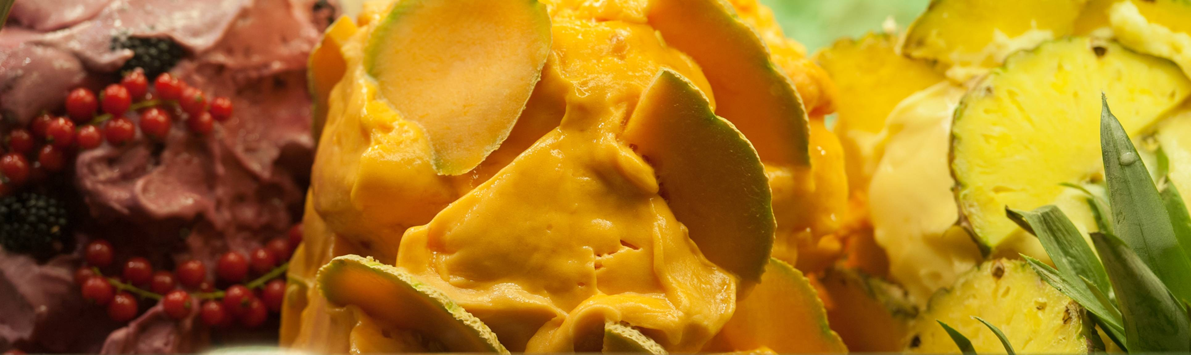 Detail view of creamy canteloupe melon in Florence market
