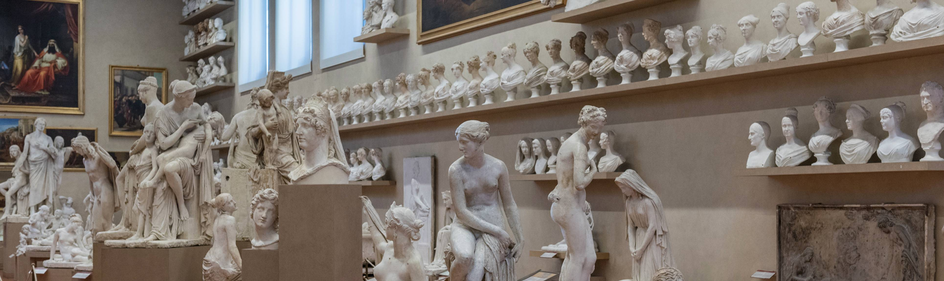Room full of plaster statues and busts at Galleria dell'Accademia, Florence