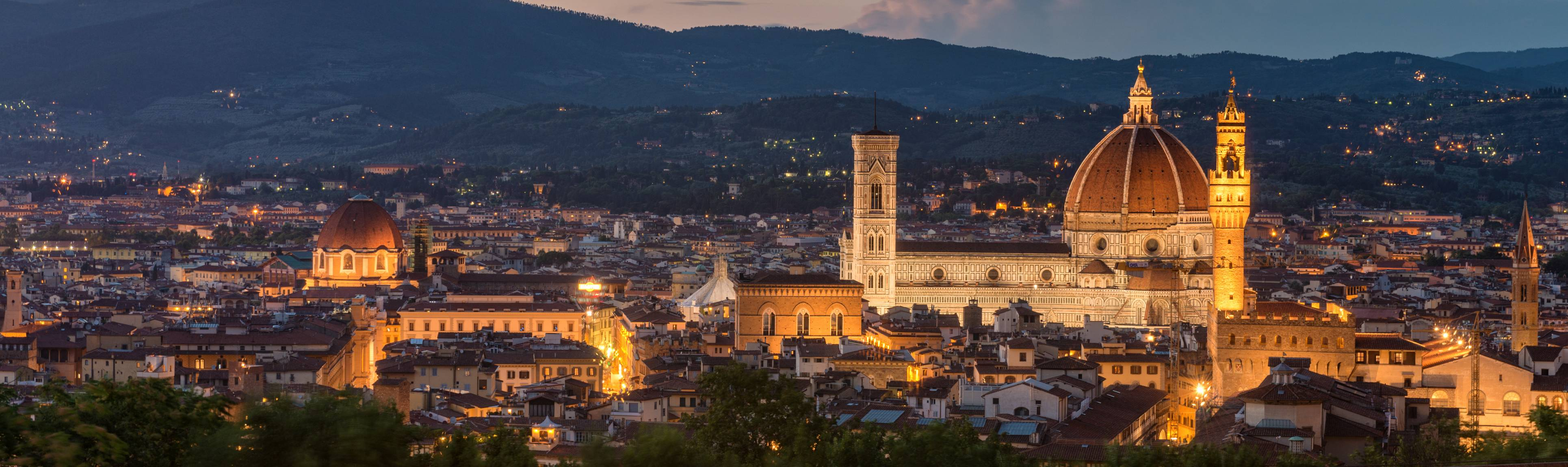 Illuminated view of city of Florence at night