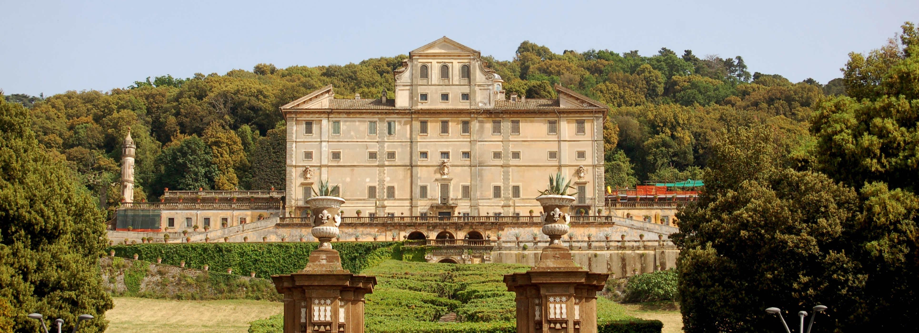 Long view of large 17th century Villa Aldobrandini in Frascati, Italy