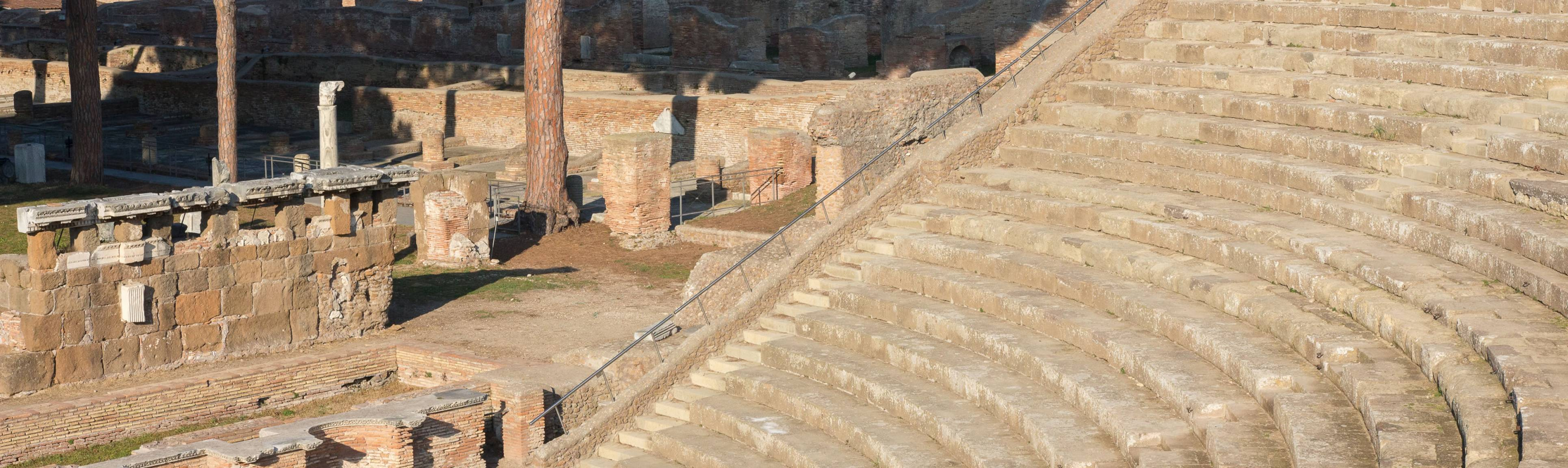 Rows of amphitheater seating at Agrippa's Theatre at Ostia, near Rome