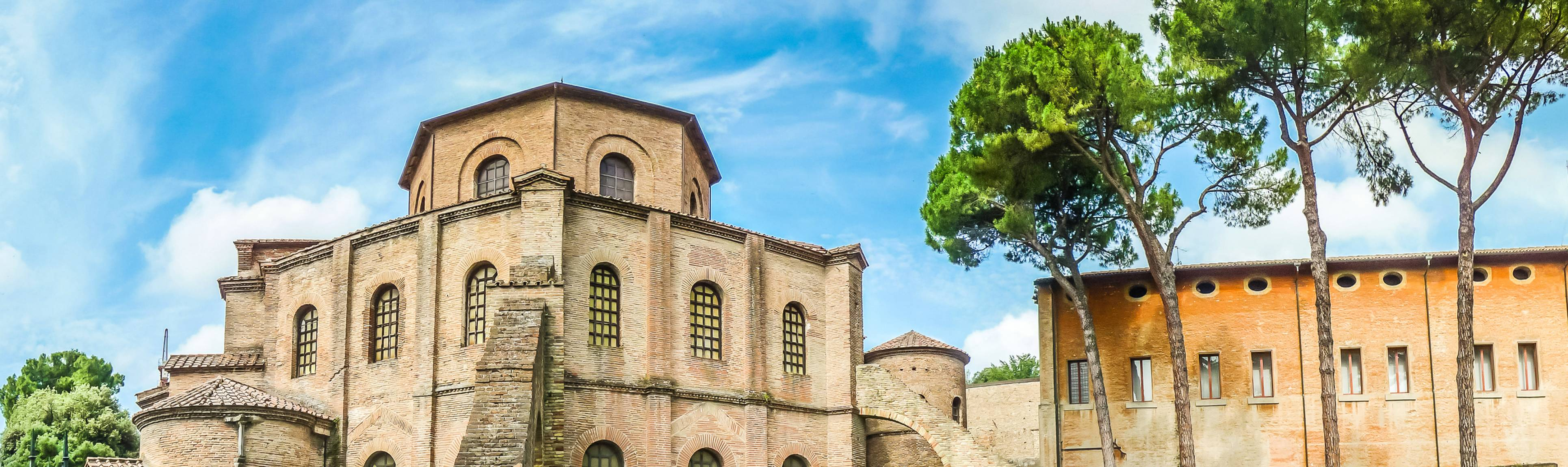 View of facade of 6th century Basilica San Vitale in Ravenna, Italy