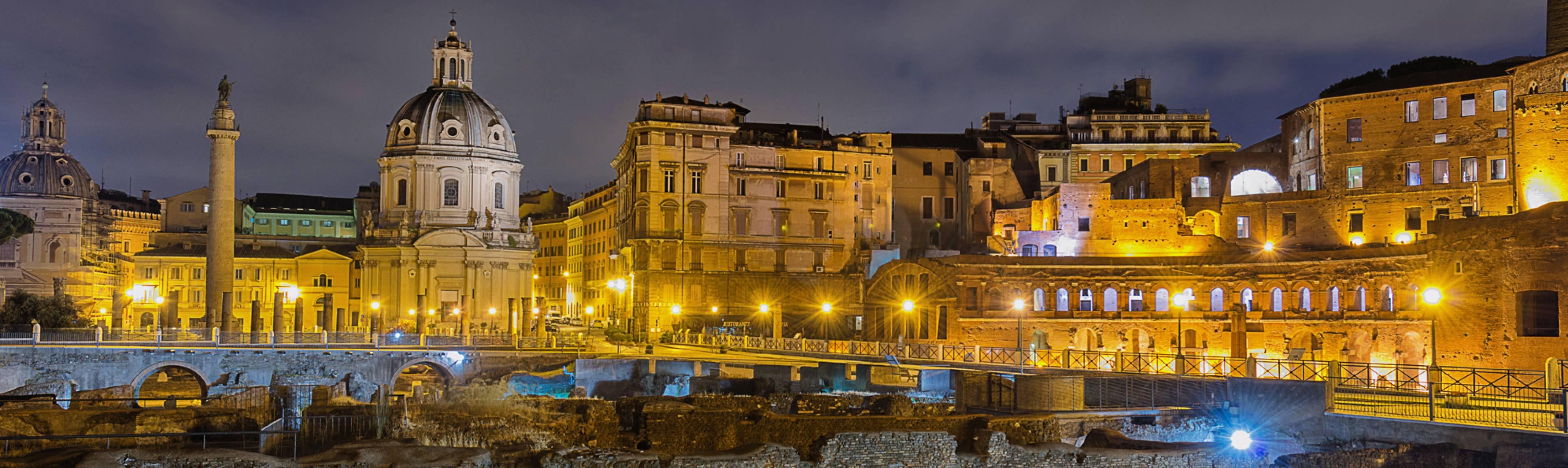 Illuminated night view of the ancient Roman Forum