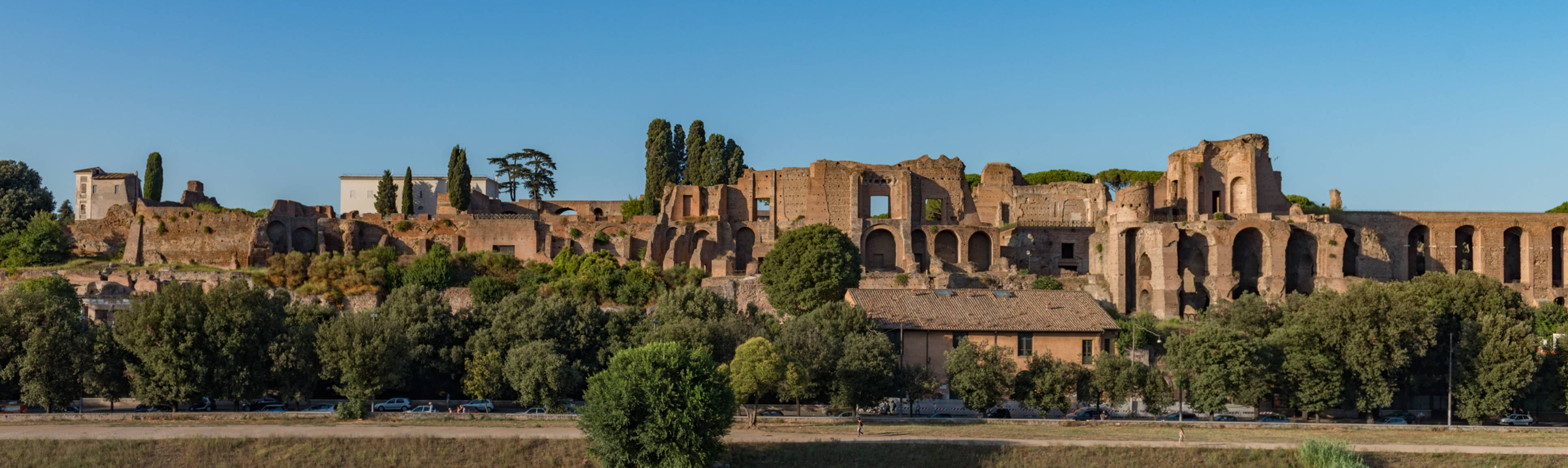 Panoramic view of Palantine Hill in Rome
