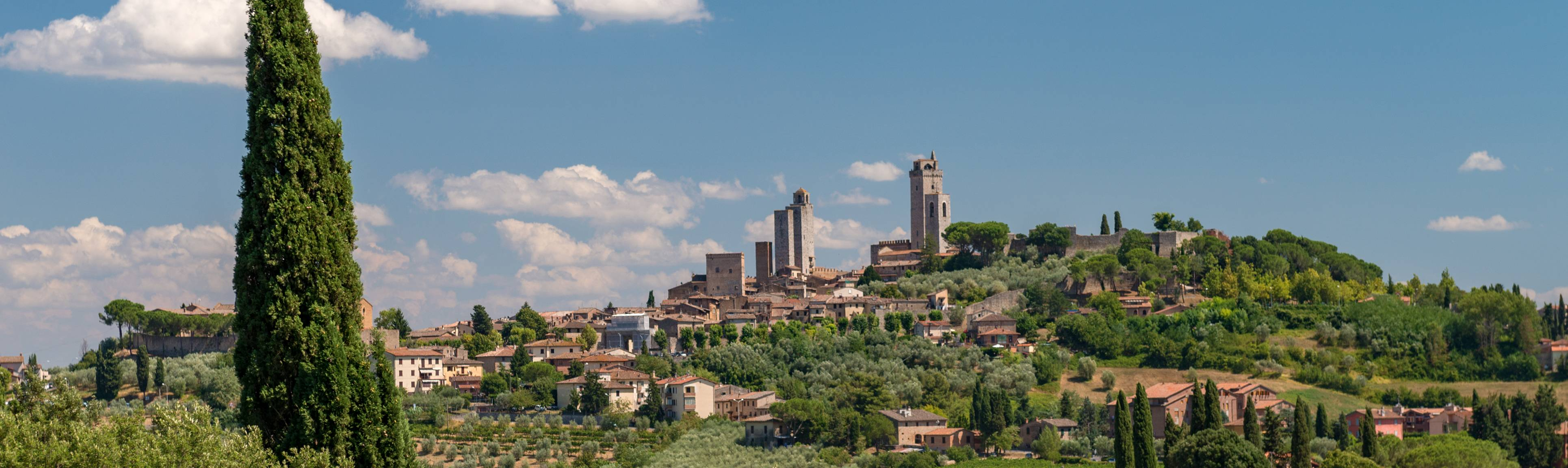 Distant view of San Gimignano in the Chianti Region