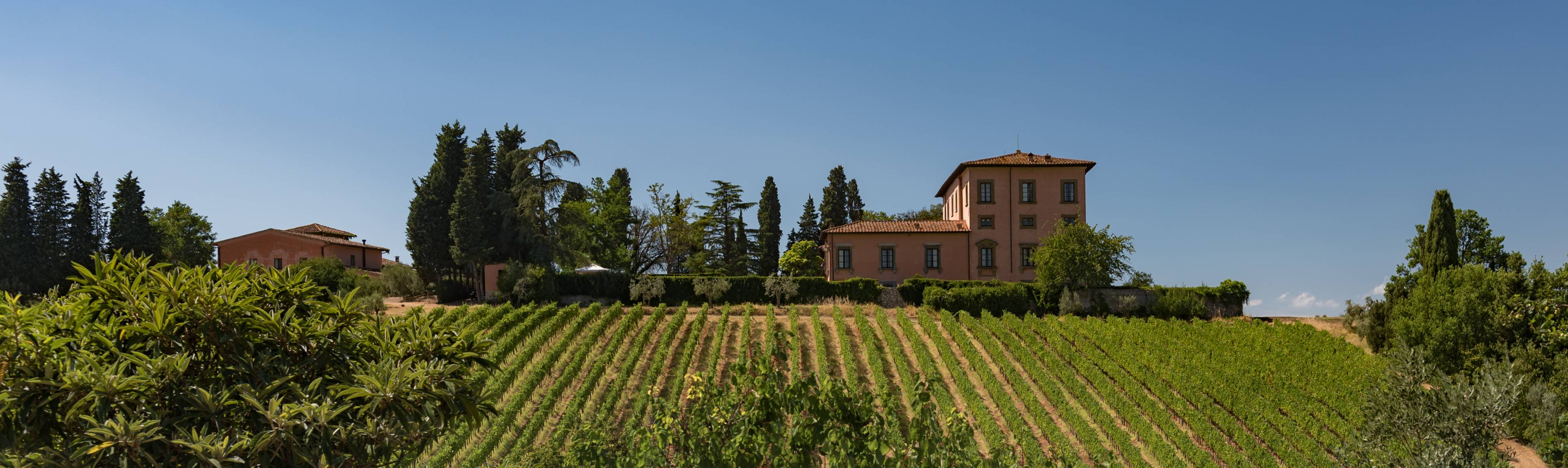 View of winery atop a hill in the Chianti Region of Italy