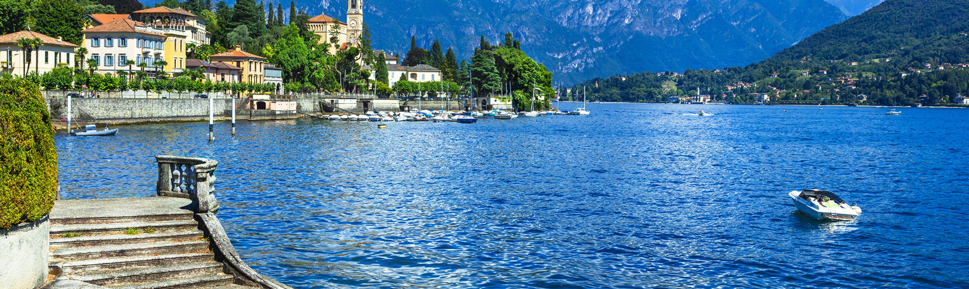Looking onto brilliant blue waters of Lake Como Italy