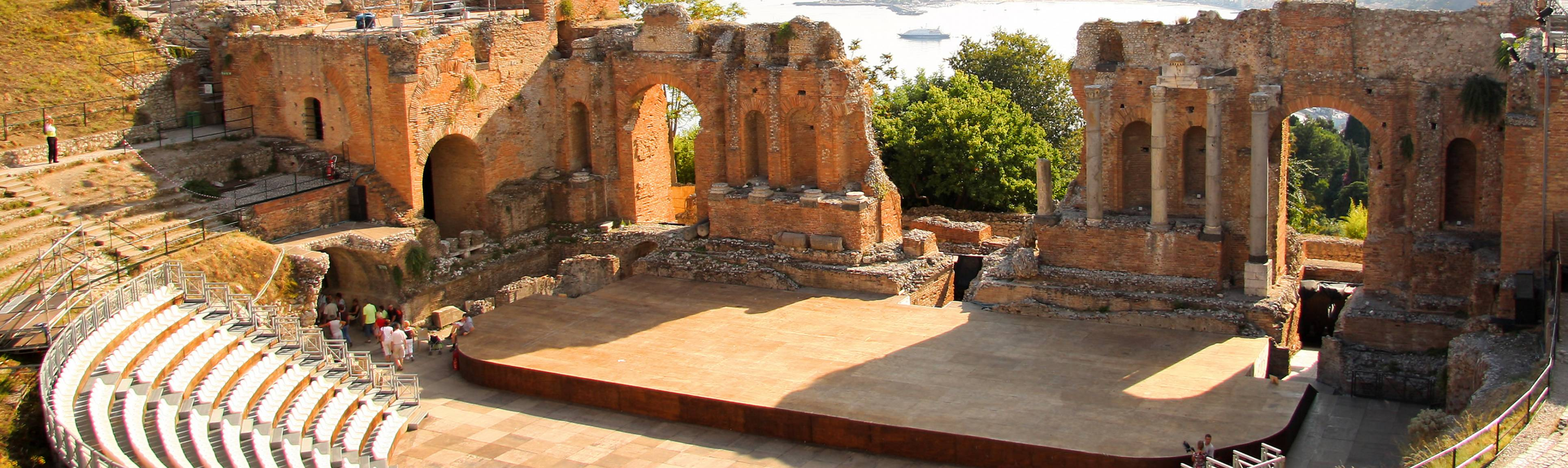 Overview of ancient amphiteatre of Toarmina in Sicily