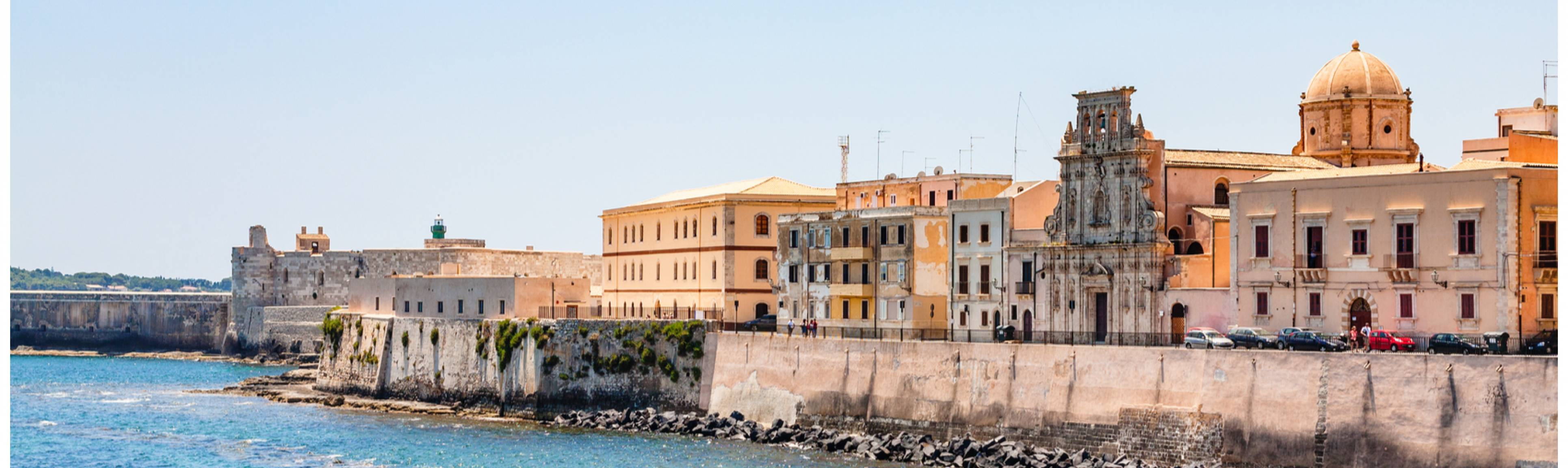 View from the water of Syracuse in Sicily