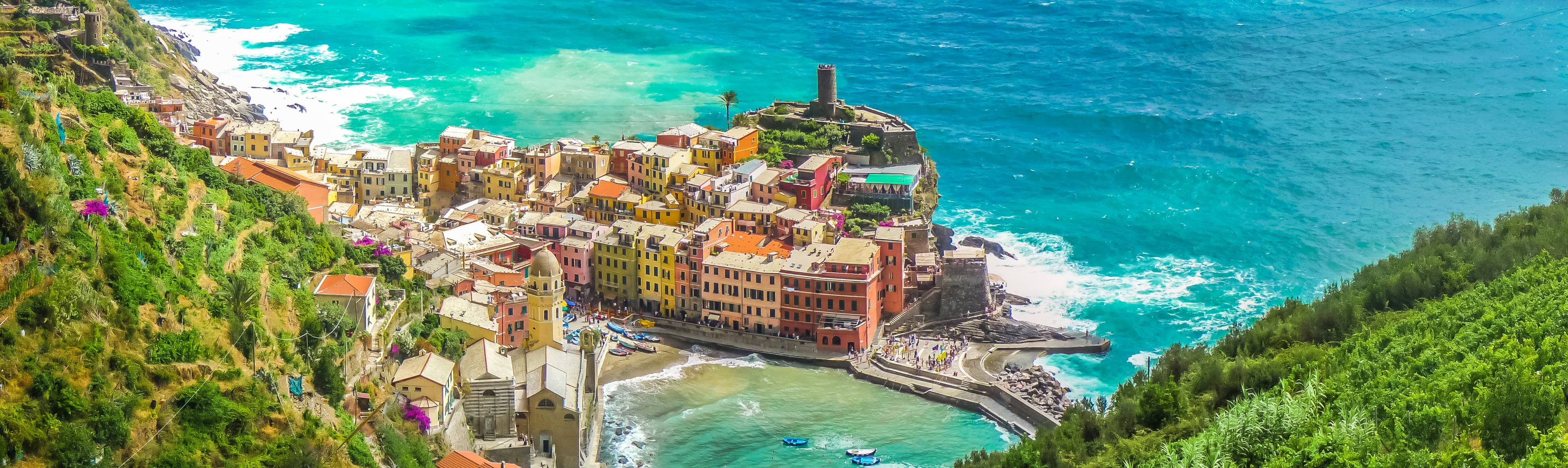 Bird's eye view of colorful Cinque Terre in Italy